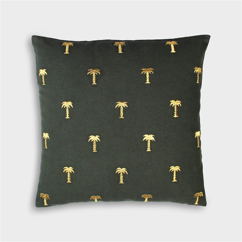 Cushion palm tree gold 40x40cm