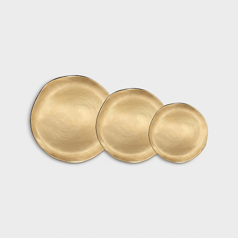 Set of 3 imperfect plates gold