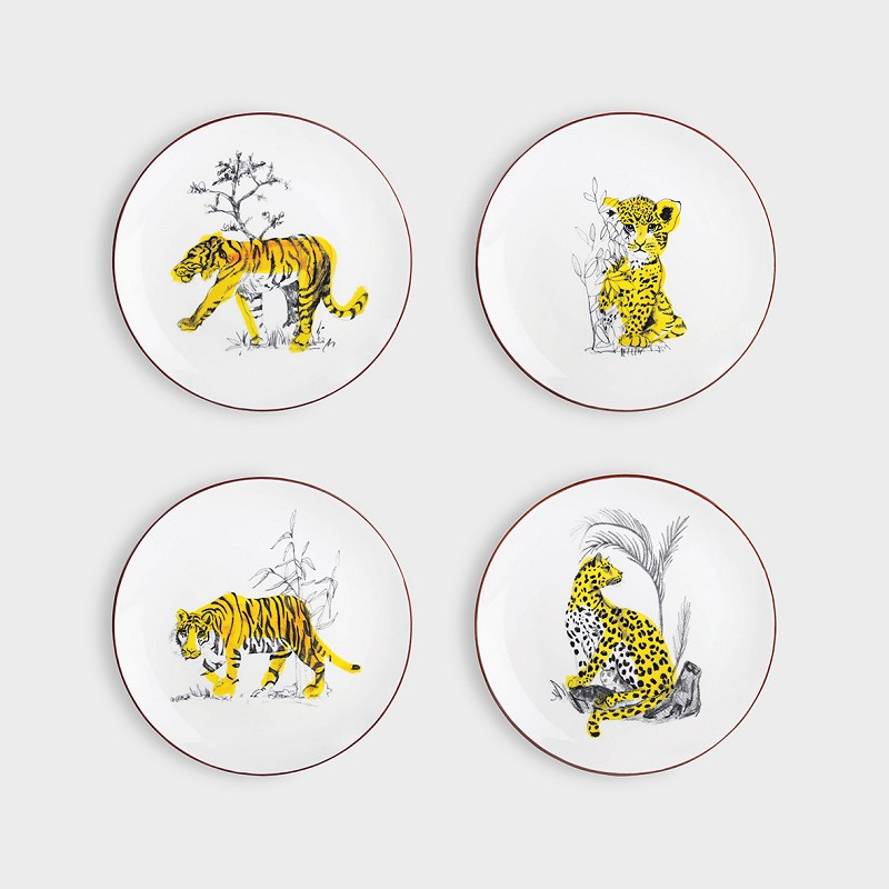 Plate Anouk feline set of 4