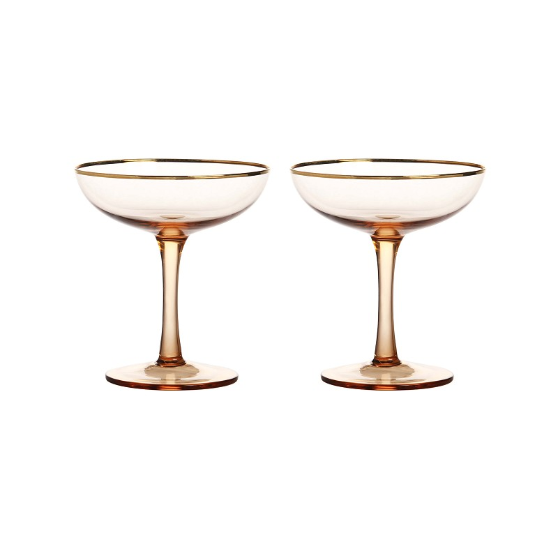 Champagne coupe gold set of 2