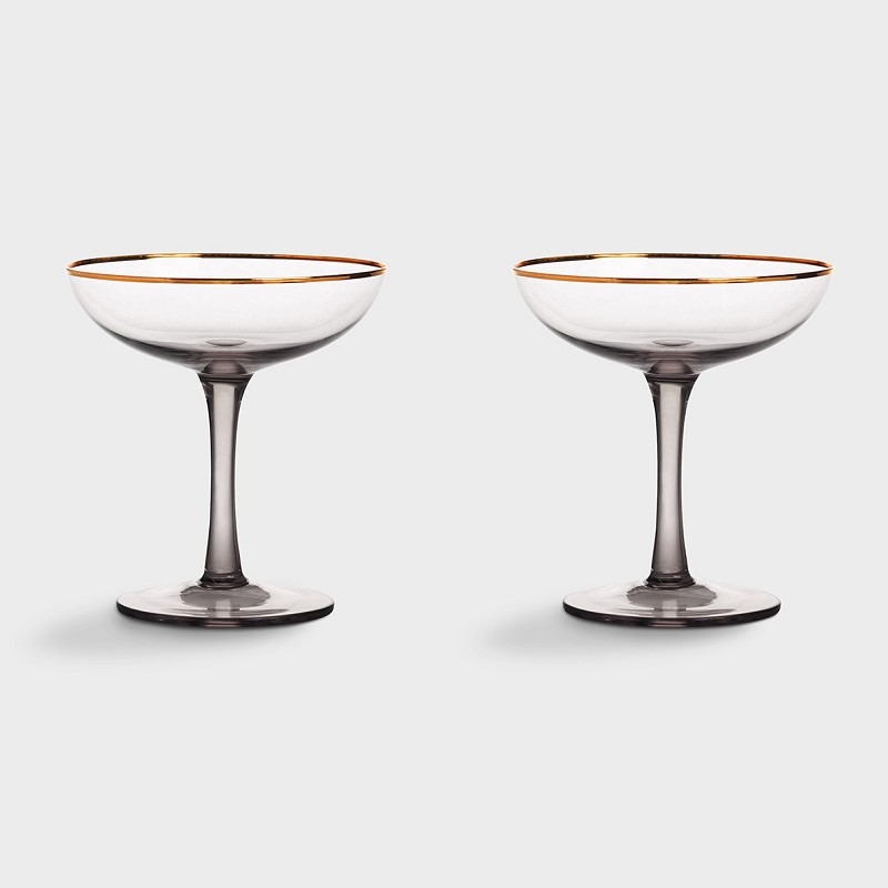 Coupe champagne smoked set of 2