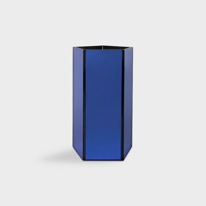 Mirror vase hexagon small blue