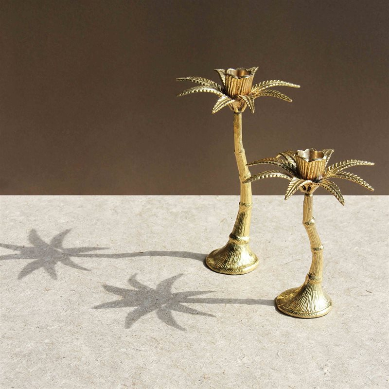 Palm Tree Candle Holder Br Large